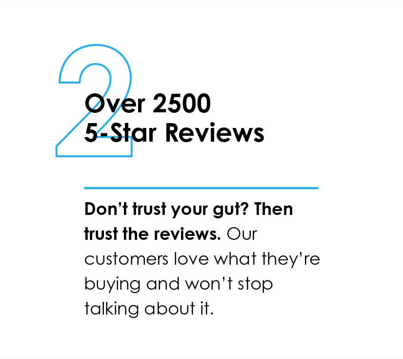 2 Over 2500 5-Star Reviews